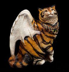 "WINDSTONE EDITIONS ""TIGER #1"" BAT WINGED FLAP CAT TEST PAINT FIGURINE, STATUE"