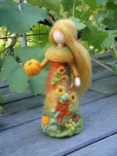 Harvest Fall Fairy Doll Needle Felted Wool Soft by Holichsmir
