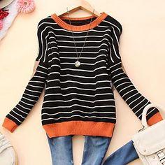 striped sweater with orange trim
