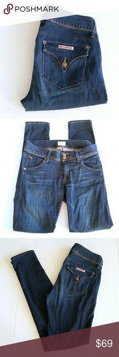 "Hudson Collin Flap Skinny Jean Hudson Collin Flap Skinny Jean Dark wash, 97% cotton, 3% Lycra Size 28, Inseam 31, Rise 8"" Hudson Jeans Jeans Skinny"