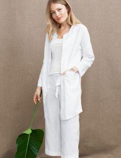 Relaxed Long Linen Jacket                                                                   I love linen- not capris but I do love linen so much