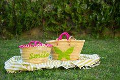 Capazo Smile, capazo mariposa y toalla Mikonos verde