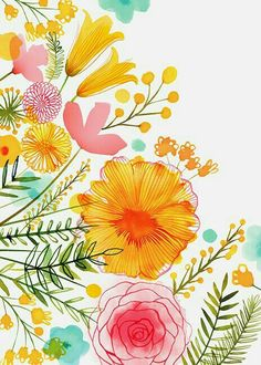 Wallpaper Flowers Watercolor 18 Ideas For 2019 Art And Illustration, Flower Illustrations, Art Floral, Pastel Floral, Floral Prints, Watercolor Flowers, Watercolor Paintings, Drawing Flowers, Watercolors