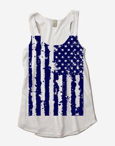 Womens 4th of July AMERICAN FLAG Tri Blend Tank Top Alternative Apparel White S M L XL on Etsy, $18.00