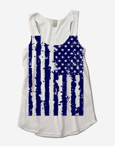Womens 4th of July AMERICAN FLAG Tri Blend Tank Top Alternative Apparel White S M L XL on Etsy, $18.00