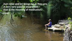 Just relax and let things be as they are. A very very passive awareness – that is the meaning of meditation. OSHO #relax #let #things #be #passive #awareness #meditation #meaning #osho