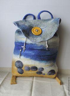 Купить рюкзак камушки у моря - разноцветный, рисунок, рюкзак, рюкзак валяный, сумка валяная, море