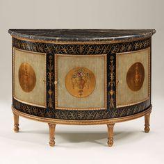 51.5''L Stunning Italian Neoclassic Style Demilune Cabinet w/Black Marble Top #neoclassic