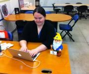 Poe at Coworks with Amy from Tech Geekery