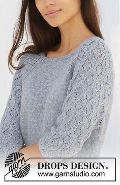 Ravelry: Blue Nostalgia pattern by DROPS design Sweater Knitting Patterns, Knitting Designs, Free Knitting, Finger Knitting, Knitting Tutorials, Drops Design, Lace Patterns, Scarf Patterns, Knit Crochet