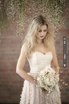 messy hair, blush pink/tea wedding dress & wild bouquet | Nikole Ramsay Photography | CHECK OUT MORE IDEAS AT WEDDINGPINS.NET | #weddings #pinkwedding #pink #thecolorpink #events #forweddings #ilovepink #purple #lavender