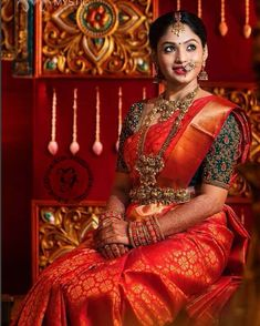 womenewera.blogspot.comSouth Indian bridal look is the most grandeurs look that you ever find it in the world.. With bright colored highly skilled hand crafted kanjeevaram saree & intricated blouse, with stunning Bold Gold Ornaments from head to toe, with flower decorated long hair braids... How much ever you accessorize the bride that much they shine...#southindianbride #bridesgoal #bridalinspiration #bridalBlog #womenewera #bride #bridalfashion #soutnindian #southindianbride #bridaljewelry…