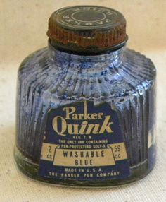 Vintage Parker Quill Pen Ink Quink Bottle