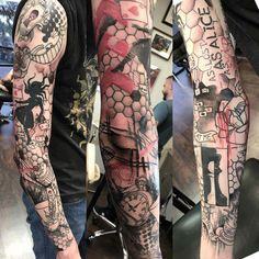 Trash Polka Alice in wonderland sleeve by Jason Allen at Bright Ideas tattoo (Avondale AZ) Tattoo Trash, Trash Polka Tattoo, Tattoo Ink, Girl Sleeves, Leg Sleeves, Leg Sleeve Tattoo, Shoulder Tattoo, Feather Tattoos, Leg Tattoos