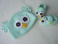 Handmade Crochet Baby Boy or Girl Owl Hat/Booties Photo Prop Newborn Baby Green #Handmade