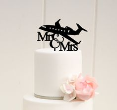 Mr & Mrs Airplane Pilot Wedding Cake Topper ♡Lead Time♡ We love to allow 1-2 weeks production time for our pieces, however, rush orders can be accommodated. If you have at least 5 business days before your event we can rush your order. Please contact us for more information. If you