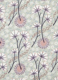 Angie Lewin for Liberty, print, pattern, nature, modern, floral, mid century design, dandelion, winter, colour, printmaking