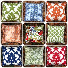 6 Sizes Available: One Decorative Outdoor Pillow Cover in Red, Green, Blue, or Orange
