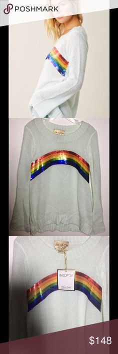 Wildfox rainbow sequin knit sweater Sz S NWT Wildfox rainbow sequin knit sweater top. Pullover, size S, long sleeves, Nwt. Wildfox Sweaters Crew & Scoop Necks