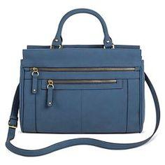 Women's Timeless Collection Large Zipper Satchel Metallic Blue  - Merona™