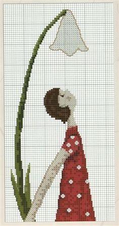 0 point de croix femme en robe rouge sous une fleur - cross stitch girl , lady in red dress under a flower part 1
