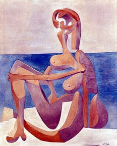 Pablo Picasso - Seated Bather. Oil on canvas, 20 x 24 inches