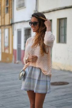 Lace Shirt With Short Skirt
