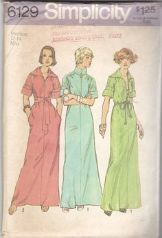 1970s Simplicity 6129 Misses Zip Front Dress Lounging Robe