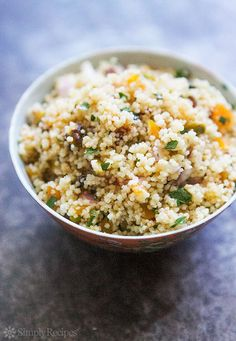 Couscous with Pistachios and Apricots ~ A Moroccan-inspired couscous side with…