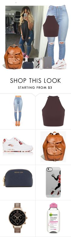 """Mondays school outfit✌"" by jahzariah-allen ❤ liked on Polyvore featuring Miss Selfridge, NIKE, Madewell, MICHAEL Michael Kors, Olivia Burton, Garnier and Mulberry"