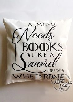 "Bibliophiles and Game of Thrones fans alike can relate to this quote. Perfect as a travel pillow or for bedroom decor! - Pillow case measures 12"" x 12"" and will fit a standard 12"" x 12"" pillow form. -"