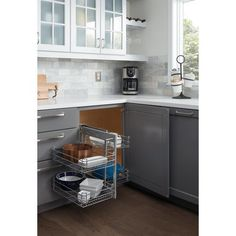 Hardware Resources Blind Corner Universal Basket Pullout for Inch Opening - Chrome CS-SHM Kitchen Design Open, Kitchen Cabinet Design, Kitchen Layout, Kitchen Time, Kitchen Corner, Claire's Kitchen, Kitchen Ideas, L Shaped Kitchen Cabinets, Small U Shaped Kitchens