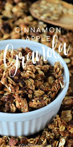 Cinnamon Apple Granola is the perfect topper for desserts or breakfast items. Easy to make with all the best fall flavors! #homemadegranola #granola #fallflavors