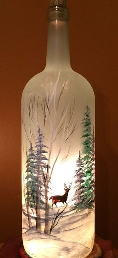 Large Hand Painted Frosted Glass Lighted Wine Bottle with Trees and Deer | eBay