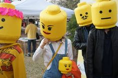 Picture of Variations and Final Thoughts Lego Costume, Bike Challenge, Lego Head, Stationary Store, Female Mask, Costume Works, Head Mask, Yellow Paper, Homemade Costumes