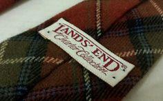 Lands End Vintage Men's Wool Neck tie Criss Cross Green Burgundy Blue  #LandsEnd #Tie