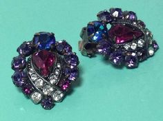 Weiss Amethyst, Pink & Sapphire Blue Rhinestone Clip Earrings, Rich Colors by SweetBettysBling on Etsy