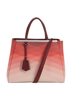 Fendi red and pink leather '2Jours' medium convertible tote