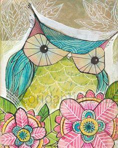 Gufo arte print - capricciosa dipinto ad acquerello di un gufo turchese - 8x10 - archivistico e stampa di cori dantini in edizione limitata