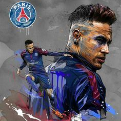 painting of Neymar Jr and his arrival in the PSG. Mbappe Psg, Neymar Psg, Neymar Memes, Football Neymar, Football Art, Neymar Brazil, Cristiano Ronaldo, Fc Barcalona, Neymar Barcelona