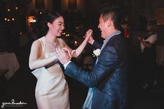 A fun and sweet photograph of a bride and groom dancing together at their Hammond Castle Wedding in Gloucester, Massachusetts Gina Brocker Photography