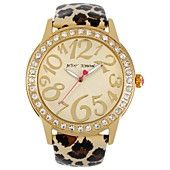 Betsey Johnson Watch, Women's Leopard Print Patent Leather Strap 48mm BJ00217-01