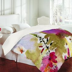 ginette fine art pink lavatera duvet cover from denydesigns.com