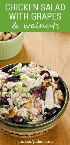 This easy healthy chicken salad recipe with grapes and walnuts is amazing! It's perfect for lunch or brunch and it's gluten, grain, and dairy-free. Try it for for a quick healthy summer dinner - it's great served in lettuce cups! Grape Recipes, Best Salad Recipes, Easy Healthy Recipes, Lunch Recipes, Healthy Eats, Healthy Salads, Paleo Chicken Recipes, Pork Recipes, Real Food Recipes