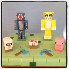 Close up of Stampy and Squid Minecraft cake!