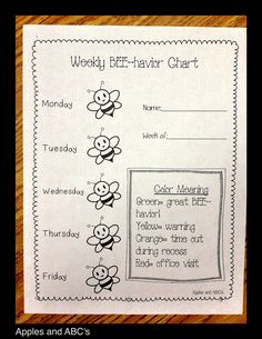 Classroom Organization: easy sheet to send home on Friday for parents to track their child's behavioural efforts at school each week.