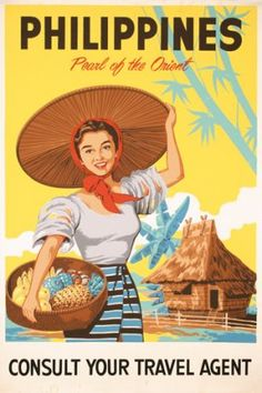325: Lot of Original 1950s Travel Posters Philippines : Lot 325