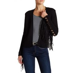 Haute Hippie Maddie Faux Suede Fringe Cardigan ($210) ❤ liked on Polyvore featuring tops, cardigans, black, long sleeve cardigan, cardigan top, long sleeve open front cardigan, long sleeve tops and woven top