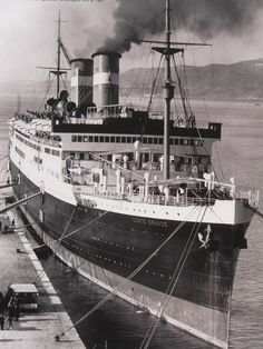 SS CONTE GRANDE, Italian Line, 1927-1961. During WWII seized by the US Navy and operated as a troopship, USS Monticello.