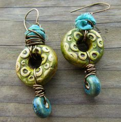 Green and Turquoise Mixed Media Rustic Boho Gypsy Earrings Wire Wrapped with Sari Silk Ribbon and Ceramic Beads by SpontaneousSoul on Etsy https://www.etsy.com/listing/223607014/green-and-turquoise-mixed-media-rustic
